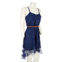 An elegant dress completely covered in lace for a feminine feel. Ruffled top with slimming belt. Thin straps make this perfect alone or under another layer.