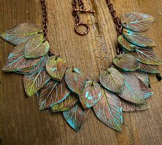 Leaves copper and patina polymer clay necklace by adrianaallenllc