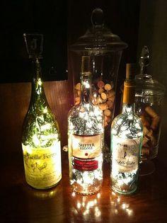 antique bottles, diy wine decor, bottle lights, decorate wine bottles, bottl light, bottl lamp, wine bottle lamps, wine bottles lamps ideas, lighted wine bottles