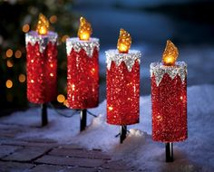 Red Glitter Candle Path Lights