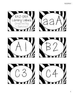 Zebra Print Theme DRA-RAZ Library/Book Labels