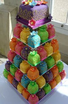 . little cakes, colorful cakes, wedding cakes, small cakes, mini cakes, bright colors, cupcake towers, bridal showers, birthday cakes