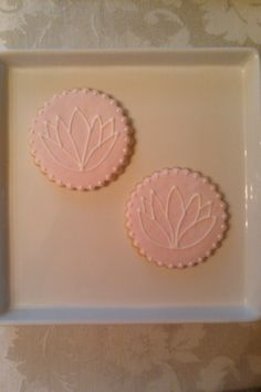 "lotus flower cookie favors for a ""Yoga""  themed Birthday party. NFSC with fondant and RI."