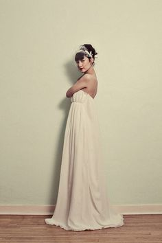 Vintage Inspired Chiffon Wedding gown  The Elaine Gown  by ktjean, $1280.00