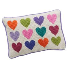 Sweet Sentiments Pillow, Multi Hearts Needlepoint Pillow