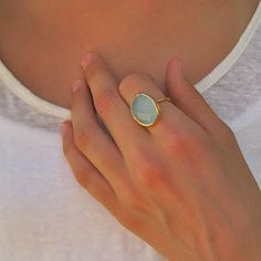 Oval Gemstone Ring by Tangerine Jewelry Shop