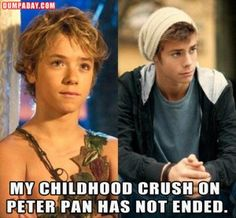 a childhood crush on Peter Pan has not ended