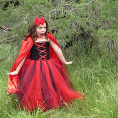 Size 2 - 9 yr Little Red Riding Hood Inspired Tutu Dress with Satin Red Cape