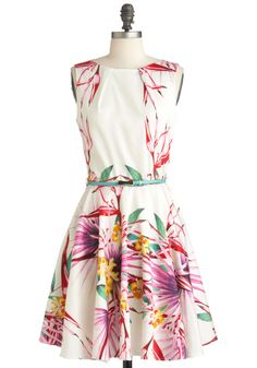 Luck Be a Lady Dress in Pink Paradise - Mid-length, White, Multi, Multi, Floral, Bows, Exposed zipper, Pleats, Pockets, Party, A-line, Sleeveless, Summer