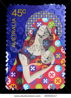 A greeting Christmas stamp printed in Australia shows Madonna with child, 2004