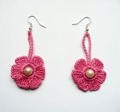 Honeysuckle Pink Crochet Earrings Crochet Flower Earrings Crochet Jewelry  Eco friendly Woman Girl. $7.00, via Etsy.