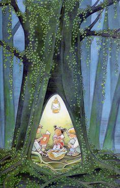 tree trunks, tree houses, book nooks, marla fraze, fairy tales, star, book illustrations, reading books, children book
