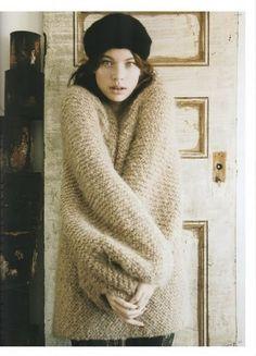 Oversize, chunky knit sweater