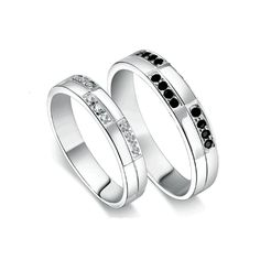 Engraved promise couple rings zircon sterling silver - $48