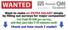 Love pinterest! Made 70 bucks doing surveys last week :) Only tell your friends about this site: http://slipouttheback.info
