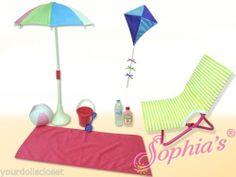 10 pc Beach Set Chair Kite Ball Blanket Complete Set fits American Girl Swim