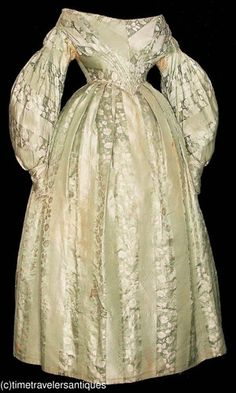 Early 1830's Floral Silk Brocade Gown