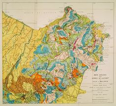 Geological or soil map showing part of the island Mallorca Manacor, Son Severa, Capdepera.. After a design by D.Ferrá. Dibuxá, in lower right corner: D.Ferrà. Dibuxá.  Provenance : Foundation P. Fallot ink stamp in upper left margin. P. Fallot was a well-known French geologist in the first part of the 19th century and in 1938 was appointed as a professor at the College de France.