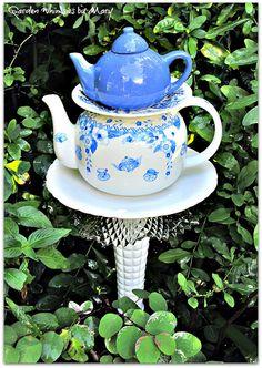 Double Teapot Garden Totem Stake  As by GardenWhimsiesByMary, $45.00