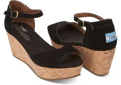 Black Suede Women's Platform Wedges hero