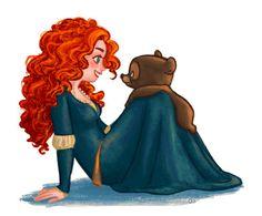 draw, brave, disney princesses, bears, art, merida, movi, pixar, brother bear