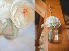 hanging floral decor, mason jar centerpieces, rustic spring green wedding, Morrissey Photography
