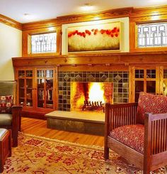 Craftsman fireplace with built-in bookcases