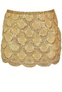 Zelda Scalloped Shimmer Sequin Embellished Skirt   www.lilyboutique.com