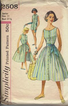 Great striped early 60s playsuit... shame about the one-piece thing.