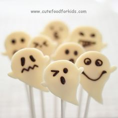 Chocolate and Marshmallow Ghosts on sticks and cupcakes. There is also an easier option!