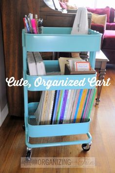 Cute, Organized Ikea Raskög Cart to organize piano music and teaching material:: OrganizingMadeFun.com