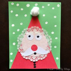 Santa collage using a doily and cotton ball- cute!