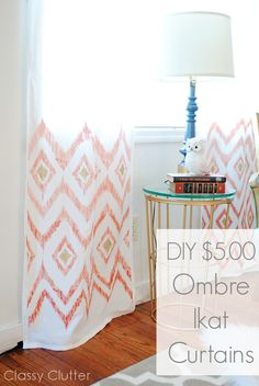 DIY $5 Ombre Ikat Curtains -