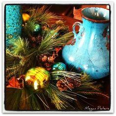 turquoise and lime green holiday decor, tablescape - christmas decor, holiday decoration