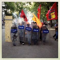 #occupygezi Earlier in Ankara, some activists pose with the shields they snatched from the police.