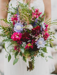 wildflower bouquet with scabiosa and veronicas