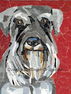 Schnauzer Mosaic Pet Portrait by quirkycottage on Etsy, $75.00