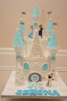 frozen cake castle, theme princess, castl cake, how to make castle cake, birthdat cake