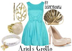 fashion, ariel grotto, cloth, style, dress, the little mermaid, inspired outfits, disney bound, disneybound
