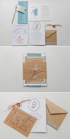 kraft paper wedding invite http://www.weddingchicks.com/2013/10/16/rainy-day-wedding-2/