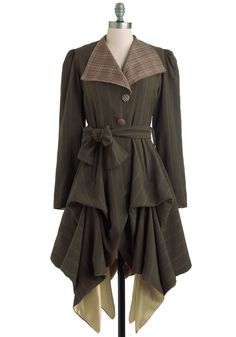 In the Name of Adventure Coat - 2, Green, Red, Tan / Cream, Stripes, Plaid, Buttons, Casual, Steampunk, Fall, Long, French / Victorian