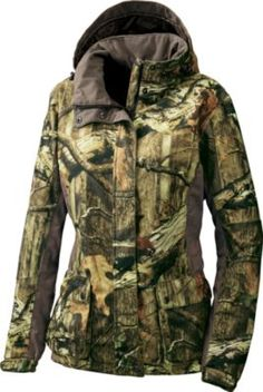 Camo outerwear specifically designed for women. Soft, quiet brushed tricot polyester with a 100% waterproof, breathable and seam-sealed membrane to keep you dry. Slenderizing fit with articulated arms that reduce bulk in high-movement areas.