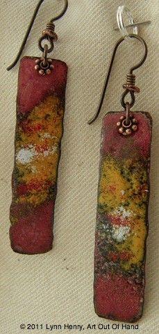 Enameled Copper Earrings by artoutofhand on Etsy, $36.00