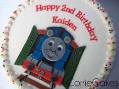 Thomas the tank engine cake from Corrie Cakes.  Love her work!