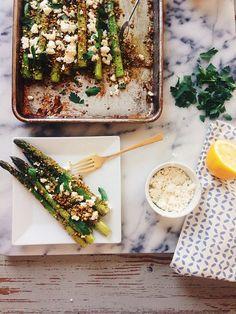 Pistachio Crusted Asparagus with Feta via Joy the Baker