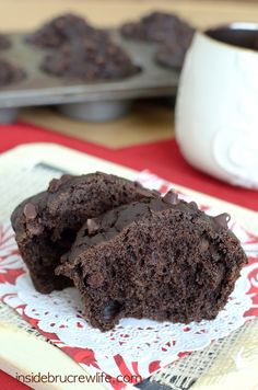 Skinny Chocolate Muffins - using healthier ingredients makes chocolate a great choice for breakfast