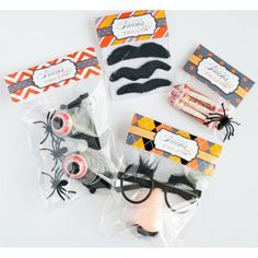 "Printable Halloween goodie bag toppers, and some neat ideas for ""tricks"" instead of treats."