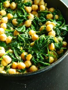 Tapas: Skillet Chickpeas - fresh spinach, chickpeas, olive oil, cumin, salt & pepper, garlic cloves