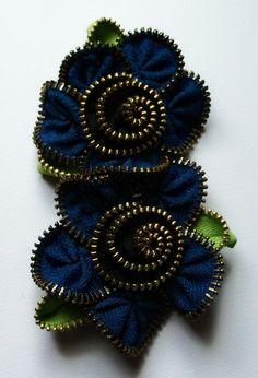 Double Zipper Flower Brooch by Zip Pinning
