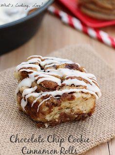 Chocolate Chip Cookie Cinnamon Rolls. |whatscookinglove.com| #dessert #cinnamonroll